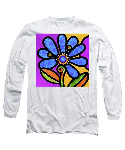 Cosmic Daisy In Blue Long Sleeve T-Shirt