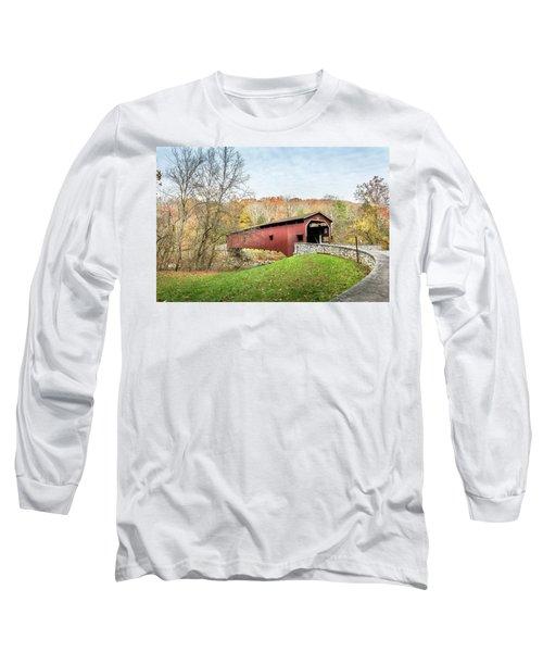 Covered Bridge In Pennsylvania During Autumn Long Sleeve T-Shirt