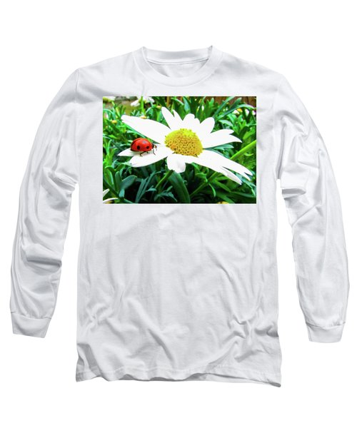 Daisy Flower And Ladybug Long Sleeve T-Shirt