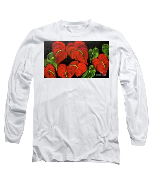 Dancing Anthuriums Long Sleeve T-Shirt by Jenny Lee