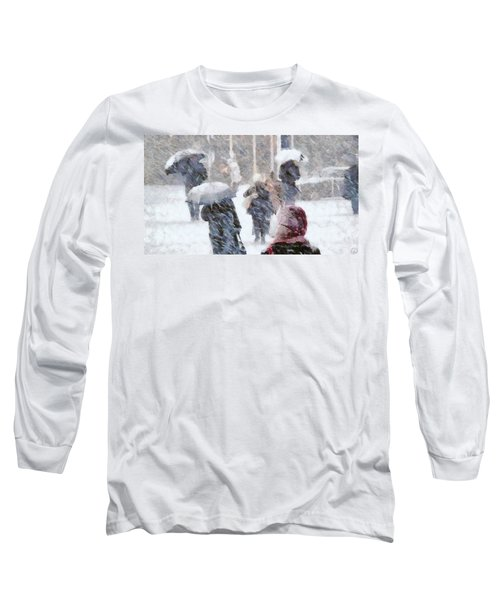 Long Sleeve T-Shirt featuring the digital art First Snow by Gun Legler