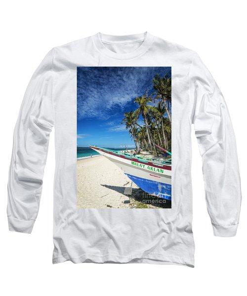 Fishing Boat On Puka Beach Tropical Paradise Boracay Philippines Long Sleeve T-Shirt