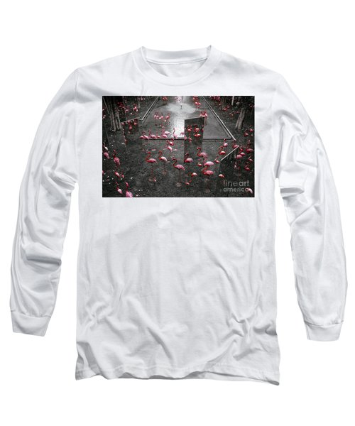 Long Sleeve T-Shirt featuring the photograph Flamingo by Setsiri Silapasuwanchai