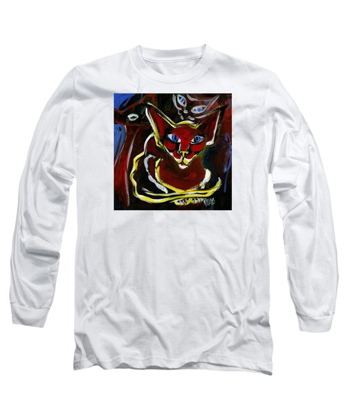 Long Sleeve T-Shirt featuring the painting Foreign White Cat by Leanne WILKES
