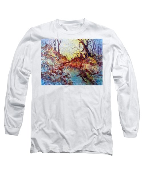 Long Sleeve T-Shirt featuring the painting Forgotten Fence by Carolyn Rosenberger