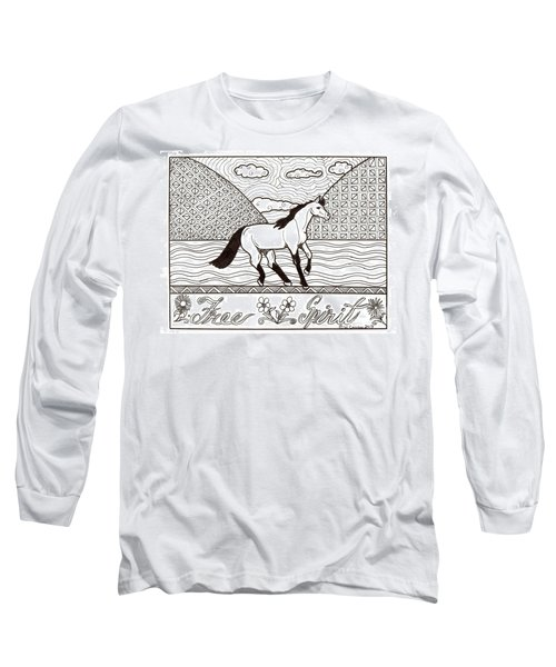 Long Sleeve T-Shirt featuring the drawing Free Spirit by Wendy Coulson