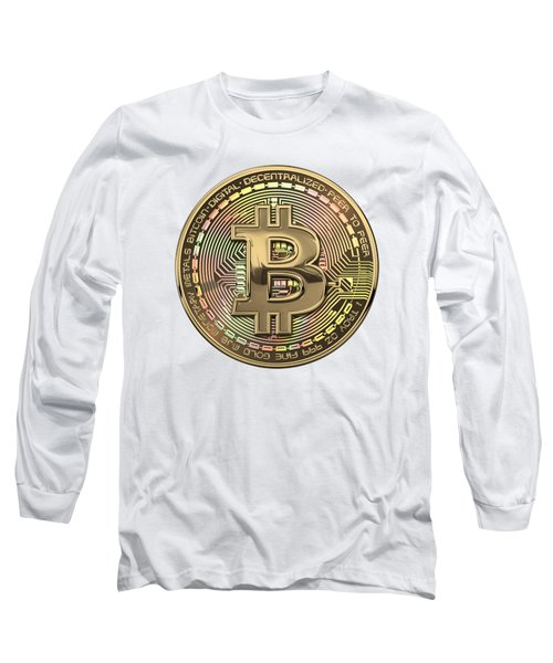 Gold Bitcoin Effigy Over White Leather Long Sleeve T-Shirt