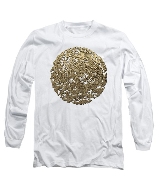Golden Chinese Dragon White Leather  Long Sleeve T-Shirt