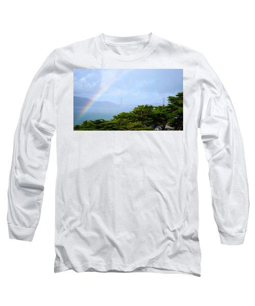 Golden Gate Bridge By Rainbow Long Sleeve T-Shirt