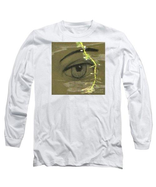 Long Sleeve T-Shirt featuring the mixed media Green Eyes by Yury Bashkin