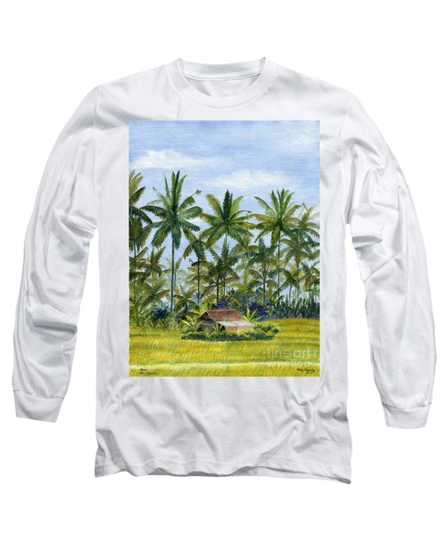 Long Sleeve T-Shirt featuring the painting Home Bali Ubud Indonesia by Melly Terpening