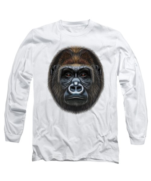 Illustrated Portrait Of Gorilla Male. Long Sleeve T-Shirt