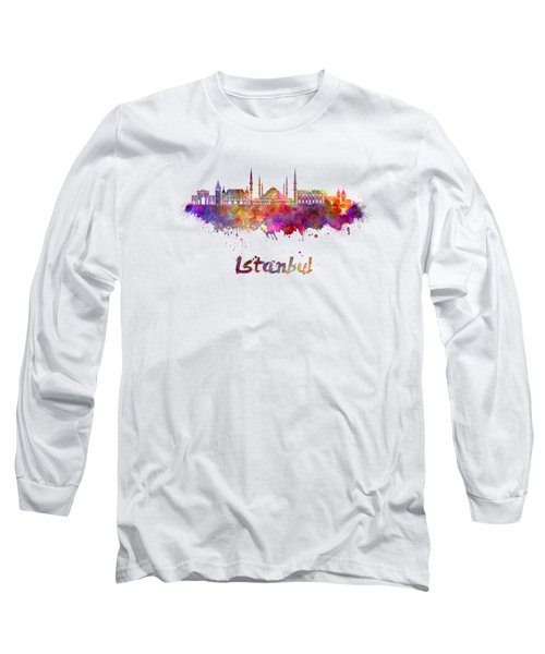 Istanbul Skyline In Watercolor Long Sleeve T-Shirt by Pablo Romero