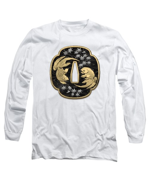 Japanese Katana Tsuba - Twin Gold Fish On Black Steel Over White Leather Long Sleeve T-Shirt