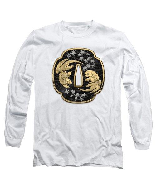 Japanese Katana Tsuba - Twin Gold Fish On Black Steel Over White Leather Long Sleeve T-Shirt