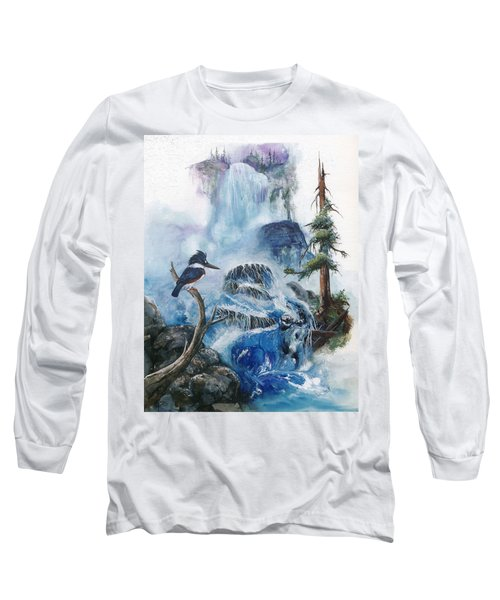 Long Sleeve T-Shirt featuring the painting Kingfisher's Realm by Sherry Shipley