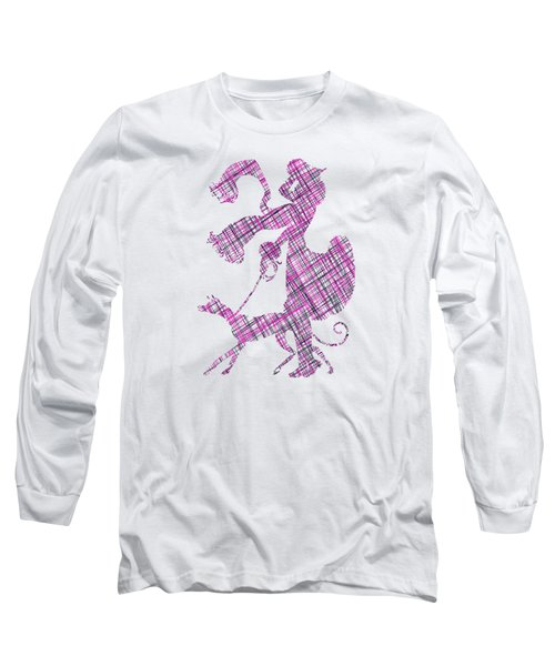 Lady Dog Walker Threads Transparent Background Long Sleeve T-Shirt