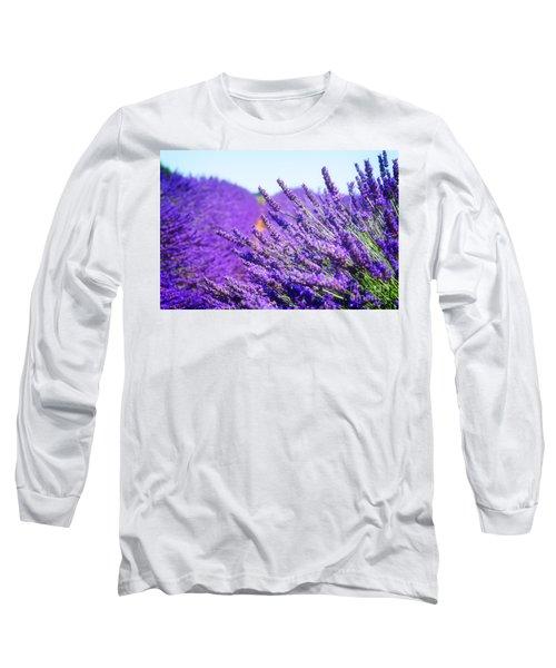 Lavender Field Long Sleeve T-Shirt by Anastasy Yarmolovich