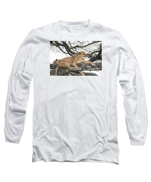 Lions In A Tree Long Sleeve T-Shirt by Pravine Chester