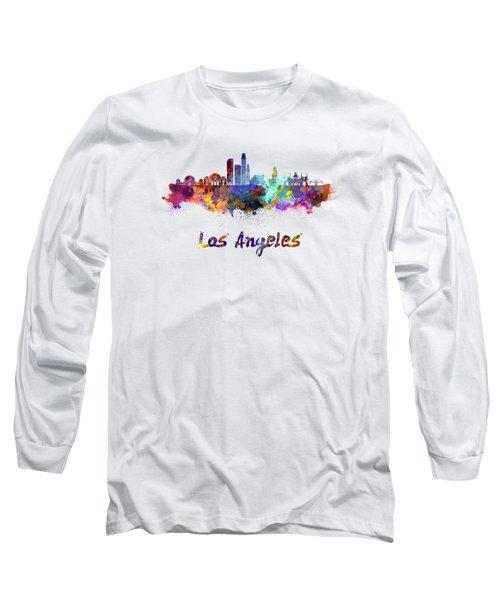 Los Angeles Skyline In Watercolor Long Sleeve T-Shirt by Pablo Romero