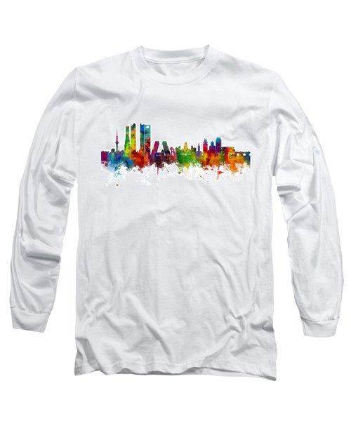 Madrid Spain Skyline Long Sleeve T-Shirt by Michael Tompsett