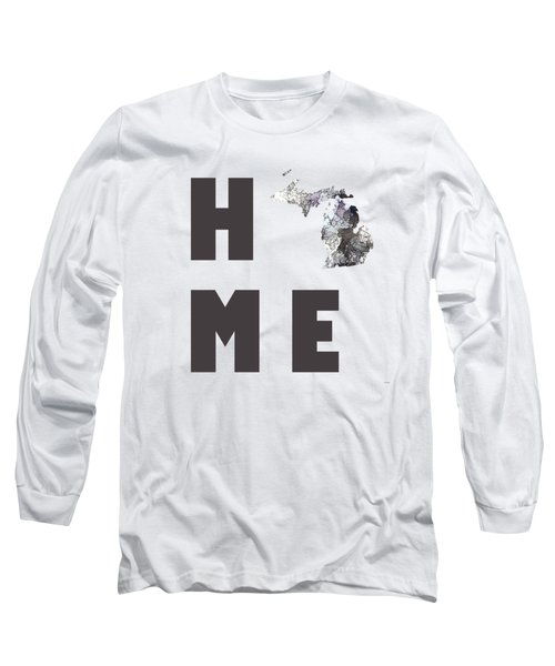 Long Sleeve T-Shirt featuring the digital art Michigan State Map by Marlene Watson