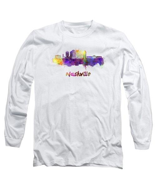 Nashville Skyline In Watercolor Long Sleeve T-Shirt by Pablo Romero