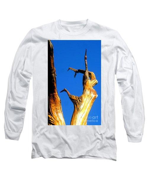 New Orleans Bird Tree Sculpture In Louisiana Long Sleeve T-Shirt by Michael Hoard