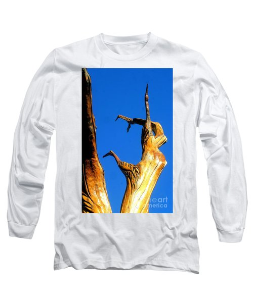 New Orleans Bird Tree Sculpture In Louisiana Long Sleeve T-Shirt