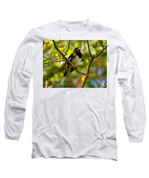 Towhee In Song Long Sleeve T-Shirt by Dianne Cowen