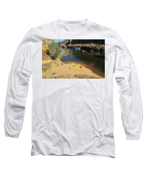 Long Sleeve T-Shirt featuring the photograph Nitmiluk Gorge Kayaks by Tony Mathews