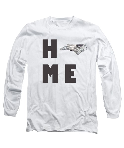 Long Sleeve T-Shirt featuring the digital art North Carolina State Map by Marlene Watson