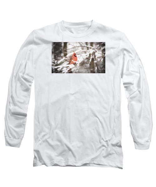 Northern Cardinal In Snow Long Sleeve T-Shirt