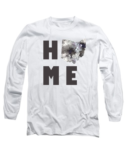Long Sleeve T-Shirt featuring the digital art Ohio State Map by Marlene Watson