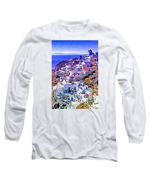 Long Sleeve T-Shirt featuring the photograph Oia Town On Santorini by Dennis Cox WorldViews