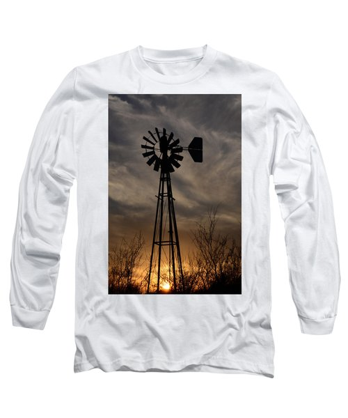 Oklahoma Windmill And Sunset Long Sleeve T-Shirt