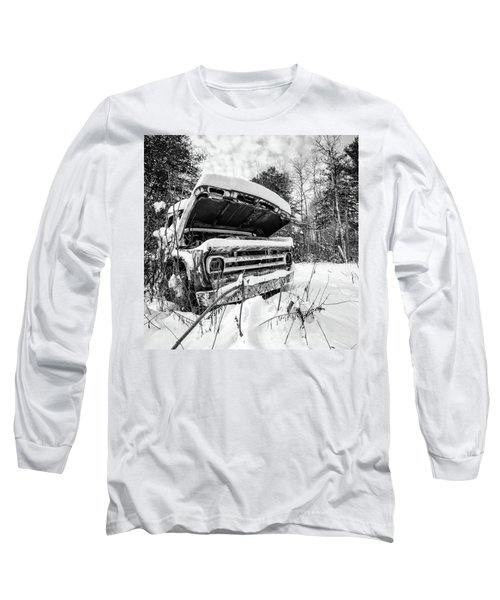 Old Abandoned Pickup Truck In The Snow Long Sleeve T-Shirt