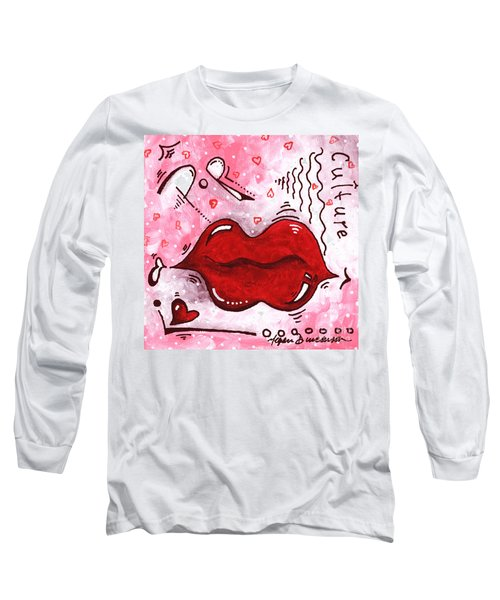 Original Mini Pop Art Lips Kiss Pop Culture Painting Kissable By Megan Duncanson Long Sleeve T-Shirt