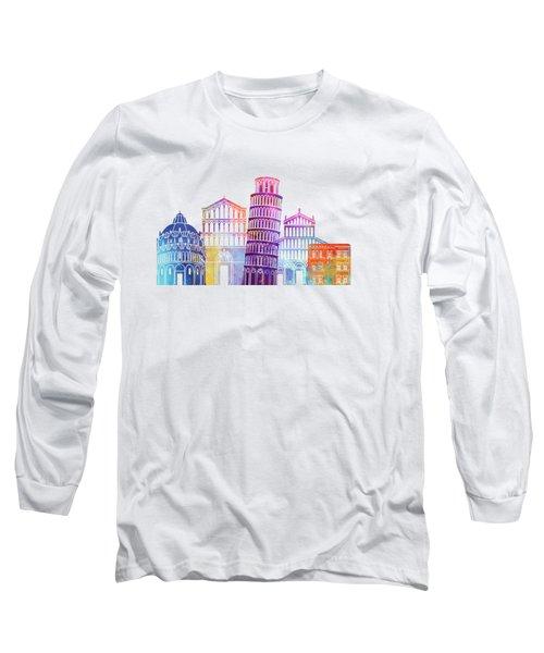Barcelona Landmarks Watercolor Poster Long Sleeve T-Shirt