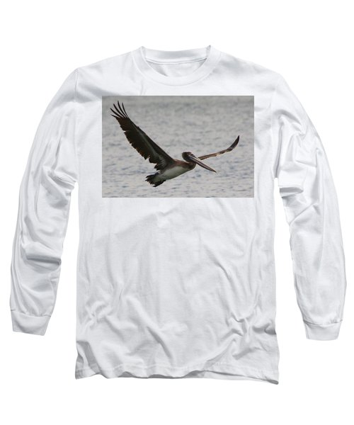 Long Sleeve T-Shirt featuring the photograph Pelican In Flight by Laurel Talabere