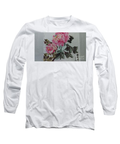 Long Sleeve T-Shirt featuring the painting Peoney20161229_6 by Dongling Sun