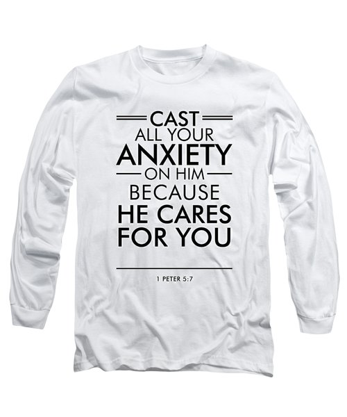 1 Peter 5-7 - Spiritual Wall Art - Bible Verses Art - Minimalist Scripture 2 Long Sleeve T-Shirt