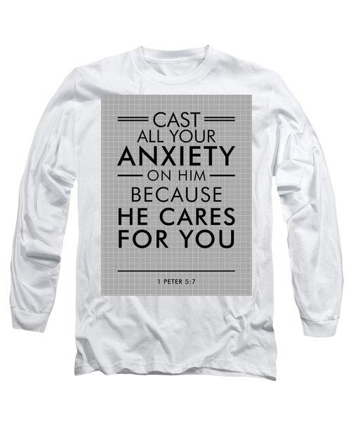 1 Peter 5-7 - Spiritual Wall Art - Bible Verses Art - Minimalist Scripture Long Sleeve T-Shirt