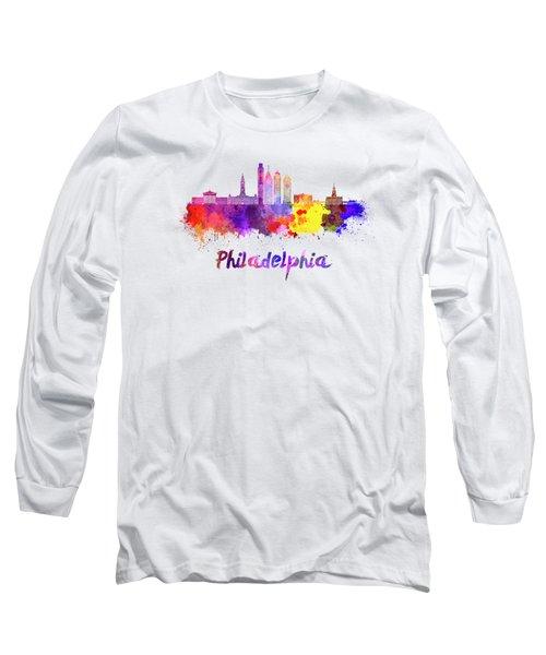 Philadelphia Skyline In Watercolor Long Sleeve T-Shirt