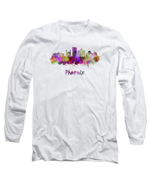 Phoenix Skyline In Watercolor Long Sleeve T-Shirt by Pablo Romero