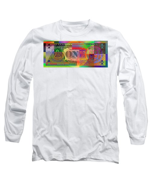 Pop-art Colorized One U. S. Dollar Bill Reverse Long Sleeve T-Shirt by Serge Averbukh