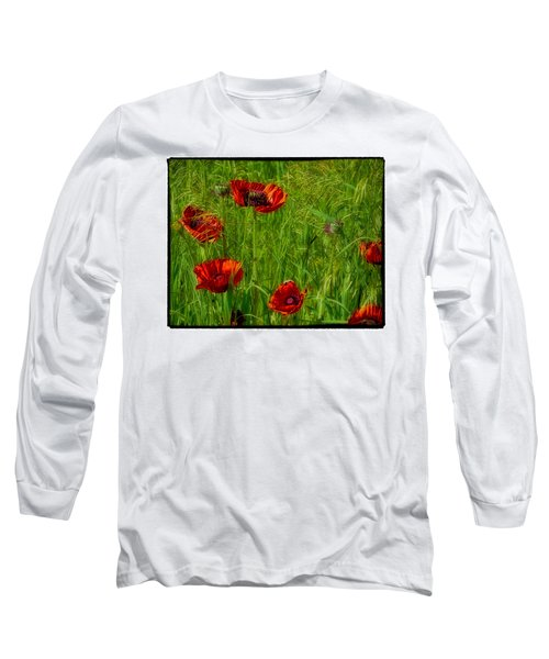 Poppies Long Sleeve T-Shirt by Hugh Smith