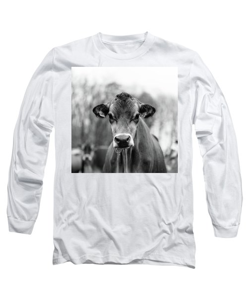Portrait Of A Dairy Cow In The Rain Stowe Vermont Long Sleeve T-Shirt