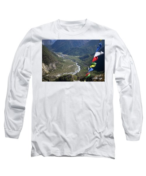Prayer Flags In The Himalaya Mountains, Annapurna Region, Nepal Long Sleeve T-Shirt