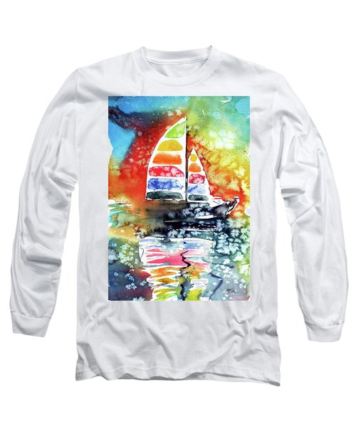 Rainbow Sailboat At Sunset Long Sleeve T-Shirt by Kovacs Anna Brigitta